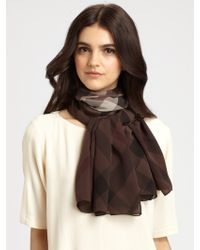 Burberry Silk Giant Check Scarf - Lyst