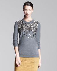 Lela Rose Embellished Crewneck Sweater - Lyst