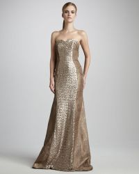 Theia Sequined Strapless Gown - Lyst
