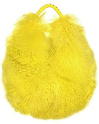 Blumarine - Leather Mongolian Fur Shoulder Bag - Lyst
