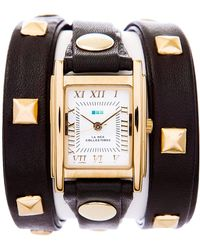 La Mer Collections Black Gold Pyramid Stud Wrap - Lyst