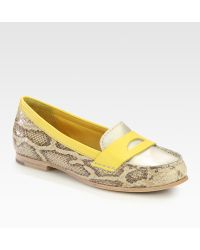 Cole Haan Air Sloane Snake-Print Metallic Leather Moccasin Loafers - Lyst