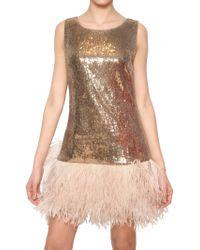 Blugirl Blumarine Ostrich Feather Sequin Techno Net Dress - Lyst