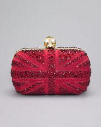 Alexander McQueen Crystal Britannia Box Clutch Dark Cherry - Lyst