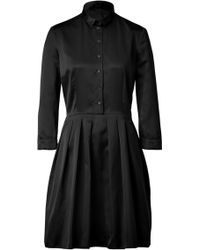 Jil Sander Navy Black Pleated Silk Sateen Dress - Lyst