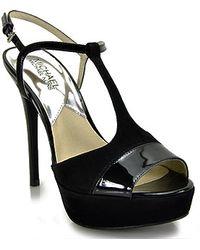MICHAEL Michael Kors Felicia Black Tstrap Sandal - Lyst