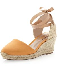 Schutz Suede Ankle Wrap Espadrille Wedge Brown - Lyst