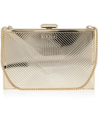 Elie Saab Gold Metallic Box Clutch Bag - Lyst
