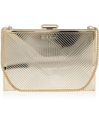 Elie Saab Gold Metallic Box Clutch Bag silver - Lyst