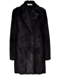 Jil Sander Black Fur Coat - Lyst