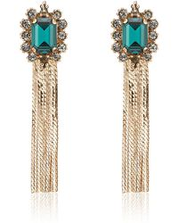 Mawi - Emerald Gemstone Tassel Earrings - Lyst
