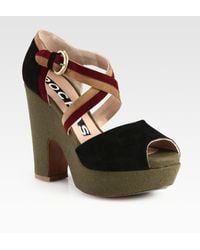 Rochas Multicolored Suede Wedge Sandals - Lyst