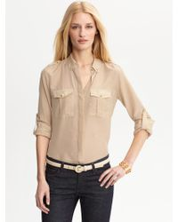 Banana Republic Heritage Cotton Silk Military Shirt - Lyst
