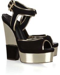 Giuseppe Zanotti Suede and Metallic Leather Platform Sandals - Lyst