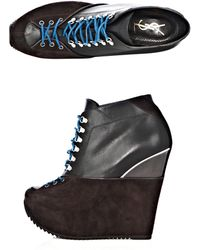 Saint Laurent Ariane Wedge Boots - Lyst