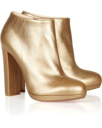 Christian Louboutin Rock & Gold 120 Metallic Leather Ankle Boots - Lyst