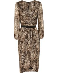 Giambattista Valli Animalprint Silkcharmeuse Dress - Lyst