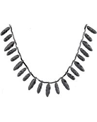 House Of Harlow 1960 Plated Feather Necklace With Pave - Lyst