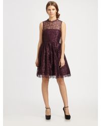 Alice + Olivia Ophelia Lace Dress purple - Lyst