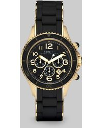 Marc By Marc Jacobs Pelly Rose Goldtone Ip Stainless Steel & Silicone Chronograph Bracelet Watch/Black - Lyst