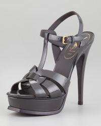 Saint Laurent Tribute Patent Leather Sandal Light Gray - Lyst