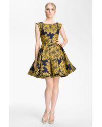 Alice + Olivia Reese Pleated Frock yellow - Lyst