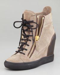 Giuseppe Zanotti Suede Wedge Sneaker - Lyst