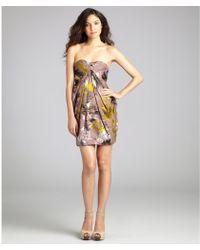 Matthew Williamson Olive Printed Silk Blend Strapless Mini Dress - Lyst