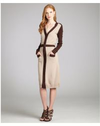 Tribune Standard - Beige Merino Wool Belted Button Front Cardigan Dress - Lyst