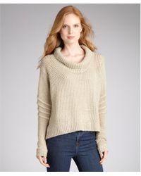 Helmut Lang Beige Wool Blend Knit Chunky Turtle Neck Sweater - Lyst