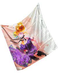 John Galliano - Pink Newsprint Silk Square Scarf - Lyst