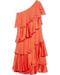 Halston Heritage Tiered Silk Satin And Chiffon Dress red - Lyst