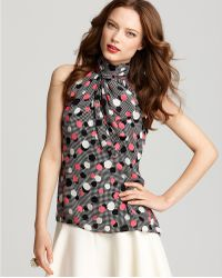 Milly Blouse Tie Neck Printed - Lyst