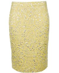 Dolce & Gabbana Embroidered Pencil Skirt - Lyst