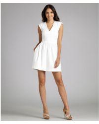 French Connection White Cotton Poplin V-neck Cap Sleeve Shift Dress - Lyst