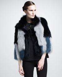 Lanvin Colorblock Fur Jacket - Lyst