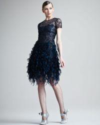 Oscar de la Renta Beaded Ruffled Dress - Lyst