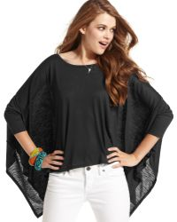 Jessica Simpson Three-quarter Poncho Sleeve Ipanema Boat Neck - Lyst