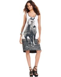 Kensie Sleeveless Scoop Neck Horseprint Dress - Lyst