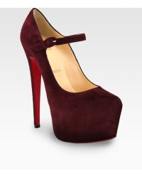 Christian Louboutin Suede Mary Jane Platform Pumps - Lyst