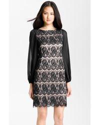 Eliza J Bell Sleeve Lace Overlay Sheath Dress - Lyst
