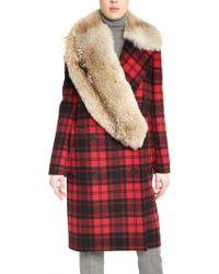 Michael Kors Coyote Fur Checked Wool Melton Coat - Lyst