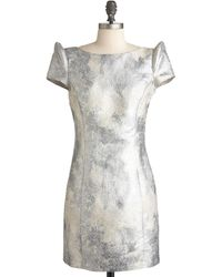 ModCloth Lunar Lovely Dress silver - Lyst