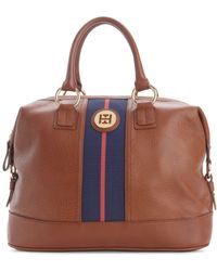 Tommy Hilfiger Pebble Leather Logo Bowler brown - Lyst