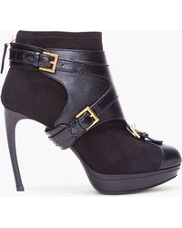 Alexander McQueen Black Stirrup Buckle Boot - Lyst