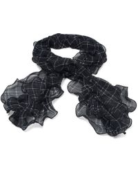 Brooks Brothers Silk Tattersall Ruffle Scarf - Lyst