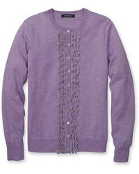 Brooks Brothers Merino Cardigan with Pointelle Ruffle - Lyst