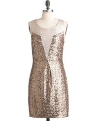 ModCloth Taupe and Dream Dress gold - Lyst