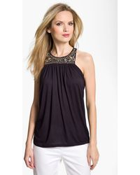 MICHAEL Michael Kors Beaded Cutaway Top - Lyst