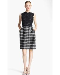 Valentino Belted Lace Tweed Dress black - Lyst